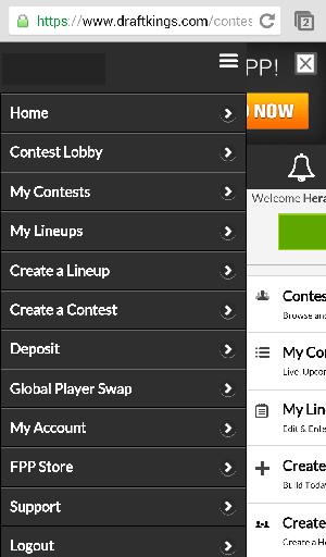 DraftKings Site Menu