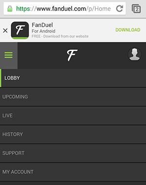 FanDuel Site Menu