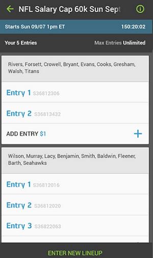 FanDuel App Multi Entry